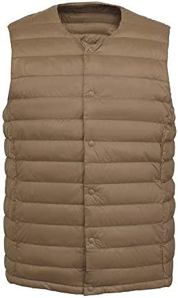 Vest Women Men White Down Vest Man's Clothing Ultra Light Down Waistcoat Portable Sleeveless Coat Man Winter Round Collar Warm Vest Vest Warm (Color : Camel, Size : XXL)