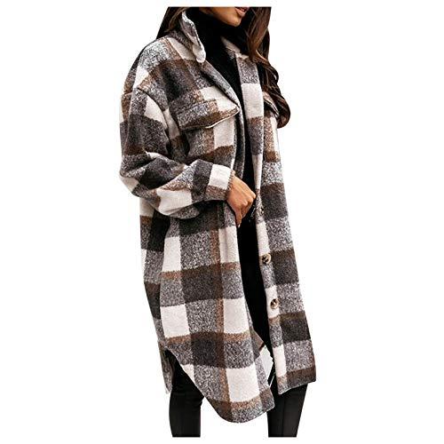 Dasongff Chaqueta de cuadros para mujer, blusa larga, con bolsillos, a cuadros, para el tiempo libre, con...