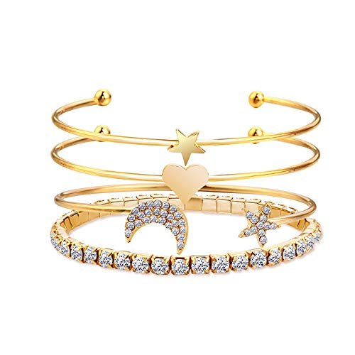NIDEZHI Creative Women Girl Alloy Star Moon Full Rhinestone Cuff Bracelet 4-Piece Set (Golden)