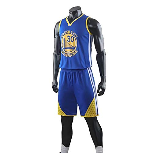 Maglia da Basket da Uomo, NBA Golden State Warriors # 30 Stephen Curry Fans Uniformi da Allenamento, T-Shirt Traspirante Resistente all'Usura Canotta + Pantaloncini,Blu,3XL