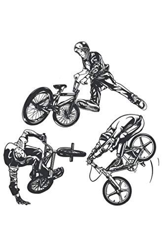 BMX Stunts Tricks Bar Turn 180 360: DIN A5 Liniert 120 Seiten / 60 Blätter Notizbuch Notizheft Notiz-Block Fahrrad BMX Motive & Geschenke