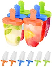 IKICH Popsicle Molds, Food Grade 6 Pieces Ice Pop Molds, 100% BPA-free, Reusable fresh homemade popsicles, Perfect for toddlers, popsicle molds for kids