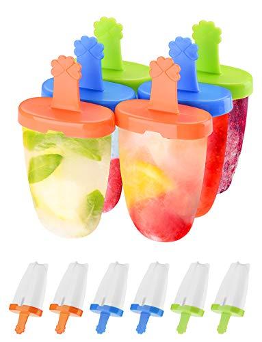 IKICH Moldes de Helado, sin BPA, 6PC Moldes para Paletas Fácil de Liberar,Adecuado para Niños, Adultos y Mascotas