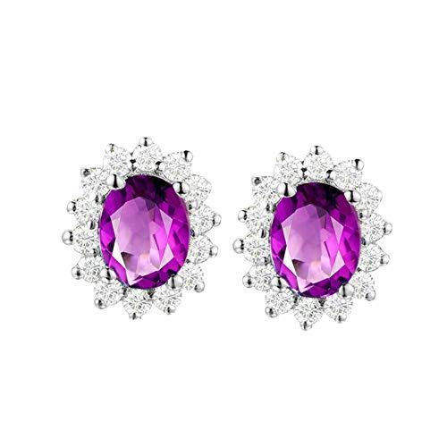 Bishilin S925 Pendientes de Plata para Ella Stud Earrings Set Clásico Moderno Forma de Flor Amistad Púrpura Oval Cristal Piedra Natal de Febrero Pendiente de Compromiso de Boda Plata