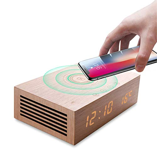 JIAMEIMEI Fast Wireless Charger, Multi-Function Alarm Clock Bluetooth Speaker Retro Wood Column Subwoofer Music Center Surround Sound, with Mic TF Pioneer Sound Speaker (Color : -, Size : -)