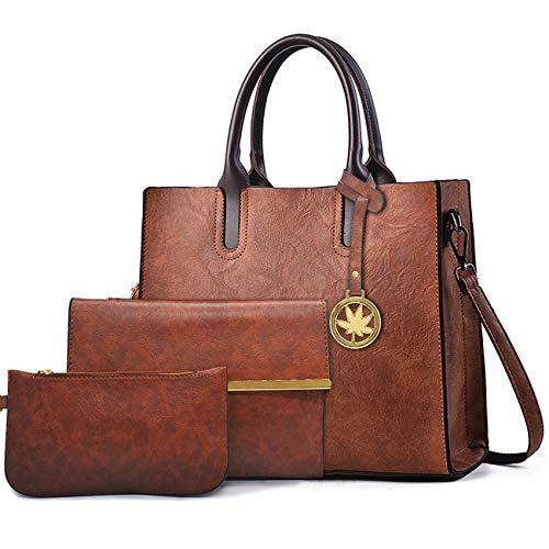 BestoU Damen Handtasche Schwarz Gross Leder Groß Tasche Umhängetasche Schultertasche Shopper Henkeltasche Set (Braun)