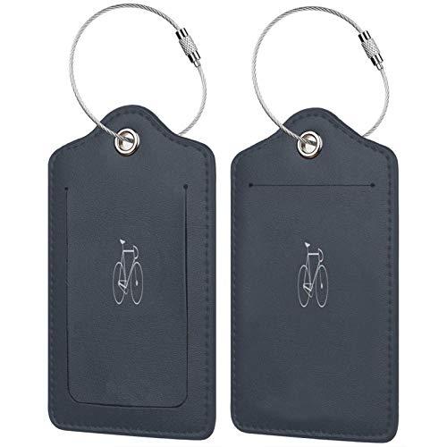 FULIYA Juego de 2 etiquetas de equipaje seguras de alta gama de cuero para maletas, tarjetas de visita, bolsa de identificación de viaje, bicicleta, minimalismo, color gris