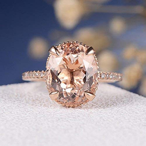 Amazon Com Oval Pink Morganite 9x11mm Big Vs Gemstone Claw Prongs Filigree Floral Art Deco Diamond Thin Band Engagement Ring Solid 14k Rose Gold Vintage Antique Eternity Anniversary Women Gifts Handmade