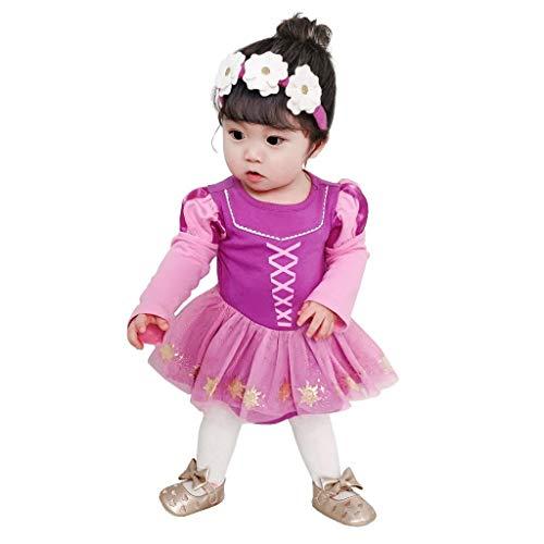 Lito Angels Vestito da Principessa Rapunzel Pagliaccetto per Neonata Bimba, Body Tutina Festa di Halloween e Compleanno, con Fascia, Taglia 9-12 Mesi