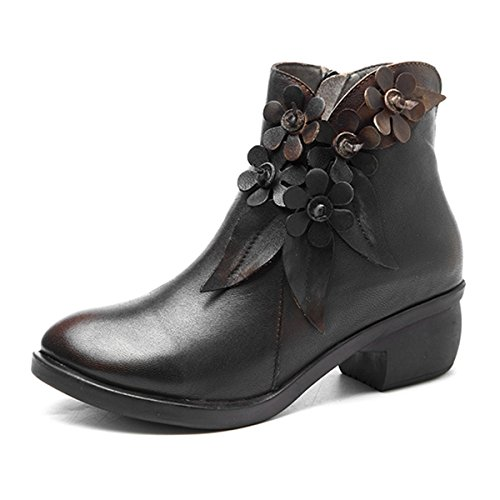 Socofy Leather Ankle Bootie, Women's Vintage Handmade Fashion Leather Boot Rose Floral Shoes Oxford Boots Dark Grey 5 B(M) US