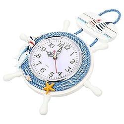KESYOO Nautical Steering Wheel Wall Clocks Anchor Boat Ship Hanging Clock Beach Sea Theme Wall Clock Hanging Decoration (No Battery)