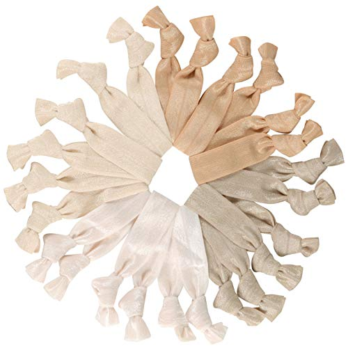 Light and Medium Cream and Tan Hair Ties Knotted Ribbon Ponytail Holders, Blonde, 24 Count