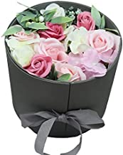 Heavenfort (TM) Everlasting Multicolour Round Artificial Rose Flower Bouquet or Decoration Box for Friend/Parents/Wife/Husband/Birthday/Anniversary X9V (Pink)