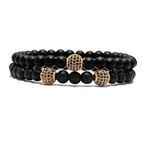 6mm Matte Beads Bracelet Men Bracelet Man DIY Jewelry Bracelet Silver ZB-01 Bracelet (Color : Gold, Size : One Size)