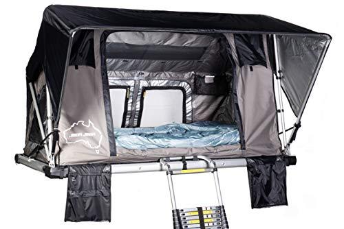 Sheepie® Jimba Jimba Dachzelt 2.0 Grau/Schwarz - Leichtes Aluminium Dachzelt - Wasserdicht - Hoher UV-Schutz - Campingzelt - Campingausrüstung - Bungalowzelt - Camping und Outdoor (Medium)