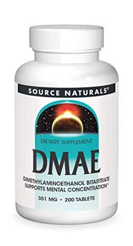 Source Naturals DMAE (DiMethylAminoEthanol) - 351 mg - 200 vegetarische Tabletten - glutenfrei
