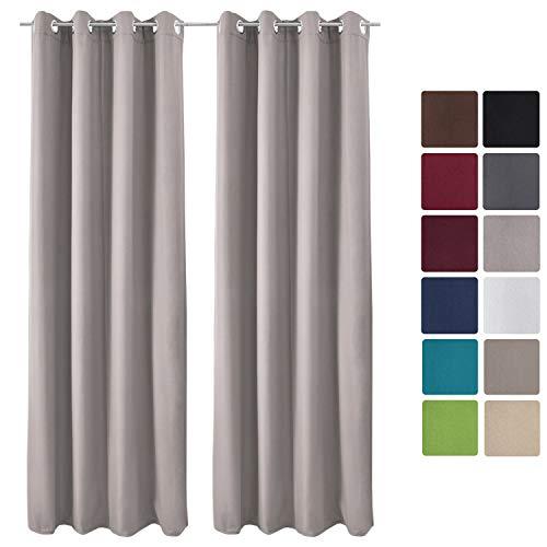 Beautissu Set de 2 Cortinas térmicas Amelie TO 140x245 cm de Ojales Privacidad y oscurecentes Aislante Gris