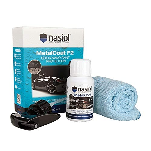 Nasiol MetalCoat F2 Spray Nano Ceramic Coating, Quick Auto Detailing Kit with Gloves kits and Microfiber, Surface Scratch Paint Protection for Cars, Trucks, Motorcycles, Aircraft, Car Care Kit