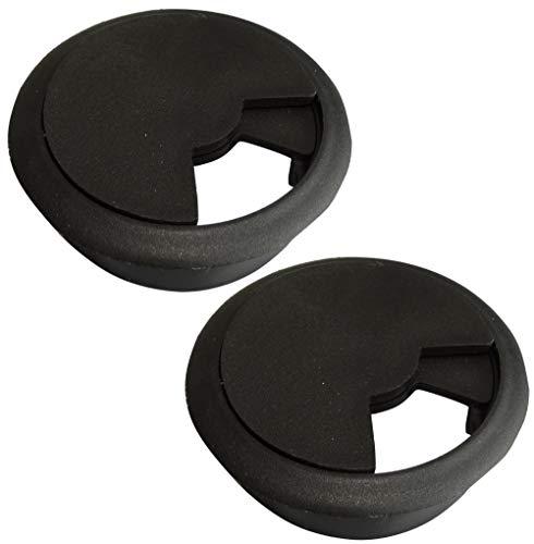AERZETIX: Pasacables Redondo de plástico para Muebles de Oficina Apertura 60mm (Negro, 2 Piezas)