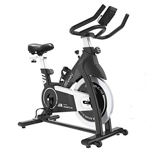 Ativafit Exercise Bike Stationary Indoor Cycling Bike 35 lbs Flywheel Belt Drive Workout Bicycle Training LCD Monitor / Ipad Mount / Adjustable Handlebar for Home Cardio Workout (Black + White)