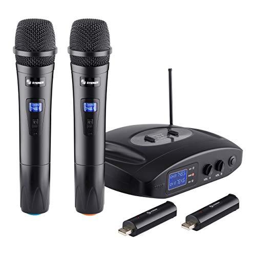 Steren WR-810 UHF, Sistema profesional de 2 micrófonos inalámbricos UHF, con batería recargable, Negro
