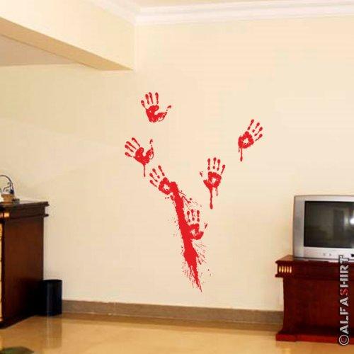 Copytec bloedspuit handen slagers bloedig Halloween opdruk kostuum fun humor horror mes plezier - wandversiering muursticker sticker (rood 45x100cm) #6100