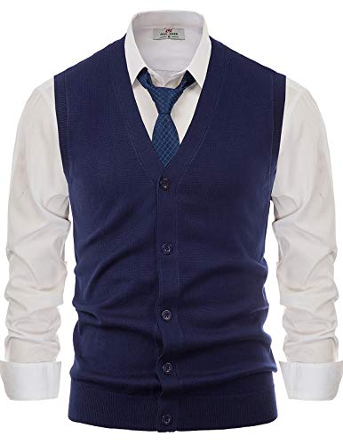 Stylish V-Neck Button Down Cardigan Sweater Vest for Men(Navy Blue,M)