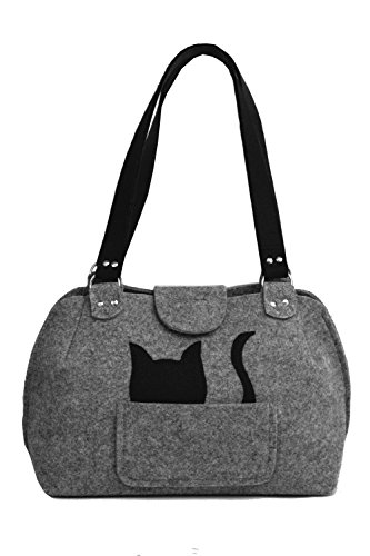 Party Katze - Handmade [ extra leichte ] Handtasche Umhängetasche aus stabilisiertem Filz