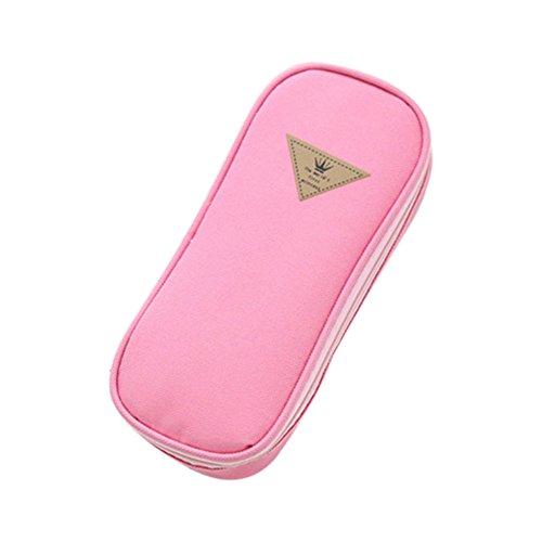 WeiMay Trousse Étudiants Style simple Couleur de bonbon Sac à crayons Grande capacité Multifonctionnel Boîte à papeterie Flip couvercle Sac cosmétique size 19.5*9*4.5CM (Rose)