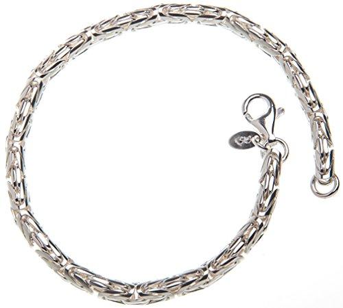 Rundes Königskette Armband, 4mm Breite - 925 Sterling Silber, Länge 16-25cm