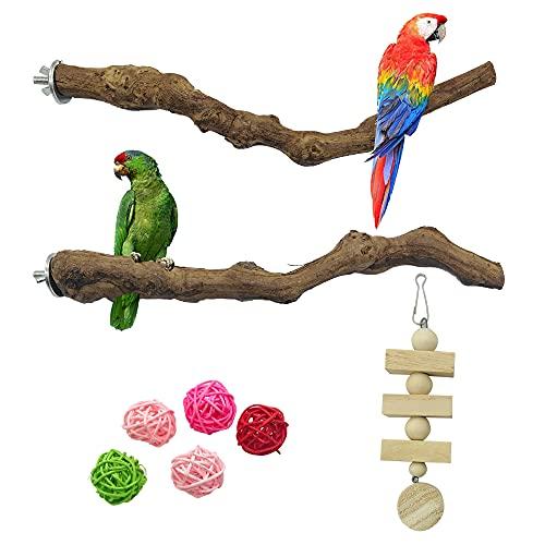 NA Allazone - 8 piezas de perca de aves natural para pájaros de pie para masticar pájaros de vid natural jaula perca para jaulas de loro, juguete para cacatúas, periquitos, aletas