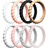 ThunderFit Thin Braided Silicone Wedding Rings for Women - 8 Rings Stackable Rubber Engagement Band 3.1mm Width - 2mm Thick (6.5 - 7 (17.3mm))
