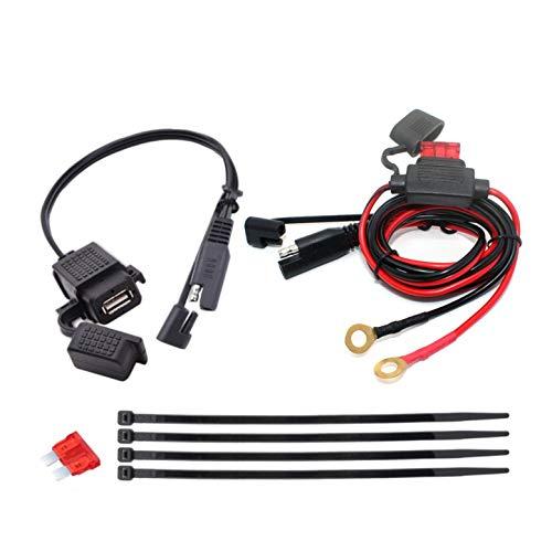 JZK Adaptador SAE a USB para motocicleta teléfono móvil GPS, SAE desconexión rápida puerto USB impermeable 2.1A con fusible en línea, cable de enchufe 12V-24V