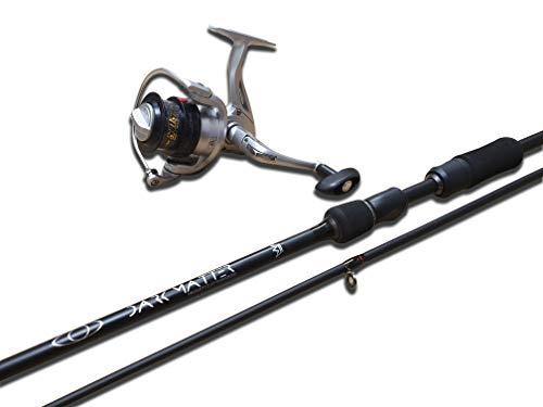 Carson - Kit Canna da Pesca Spinning in Carbonio PJDM 860, Mulinello ProCAST3000 e Filo, Lunghezza 2.10m o 2.40m Metri, Impugnatura Ergonomica ed Anelli in Alconite, Pesca d'Acqua Dolce e Salata