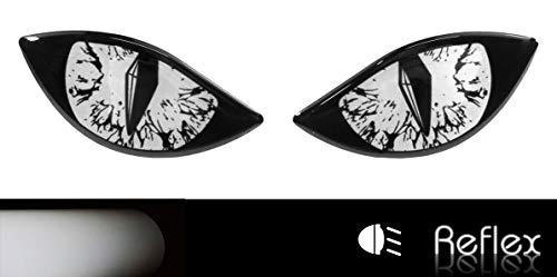 Bike Label 910069VA Reflektor-Aufkleber 3D Böse Augen Auto Motorrad Helm weiß