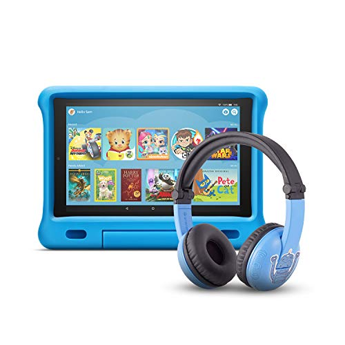 Fire HD 10 Kids Edition Tablet | 10.1' 1080p Full HD Display, 32 GB, Blue Kid-Proof Case + Made for Amazon Bluetooth BuddyPhones, PlayTime in Blue – Ages (3-7)