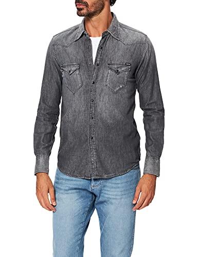 REPLAY M4981 Camisa, Gris (097 Dark Grey), XXL para Hombre