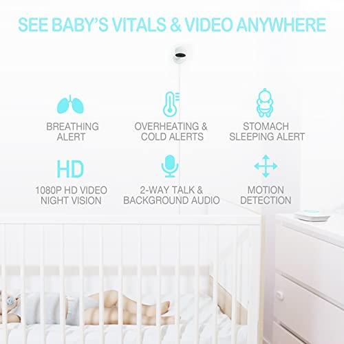 Baby Monitor with Camera and Audio, Sense-U Video Baby Monitor with Breathing, Movement, Skin Temperature Sensor | Night Vision, 2-Way Talk, Motion Detection, Long Range & Free Smartphone App (Pink)