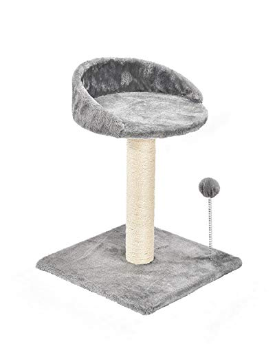 Poils bebe Cat Scratching Post and Activity Tree Natural Sisal Tower with Round Perch and Plush Ball Furniture Made for Kitten and Small Cat (Grey)