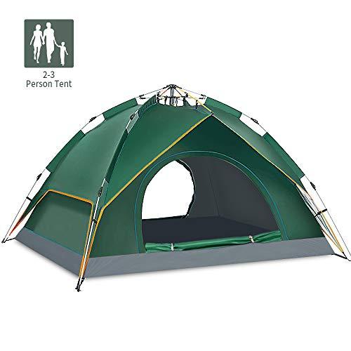 Campingtent, automatische pop-uptent voor 2-3 personen, waterdichte dubbellaagse koepeltent, anti-uv-familietent, ultralicht, met draagtas, voor strand, wandelen, kamperen, outdoor