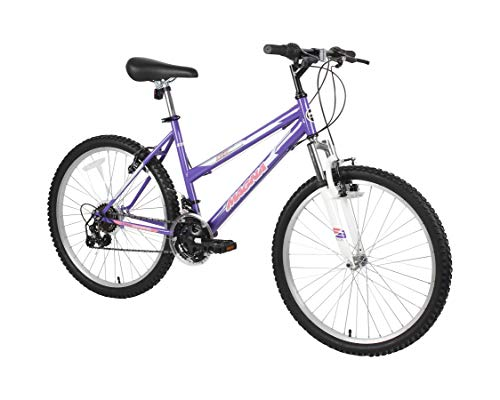 Dynacraft Magna Front Shock Mountain Bike Girls 24 Inch Wheels with 18 Speed Grip Shifter and Dual Handbrakes in Puple