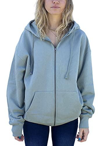 Sudadera de manga larga con capucha y cordón para mujer, de gran tamaño, con cremallera completa, con bolsillos, gris, L