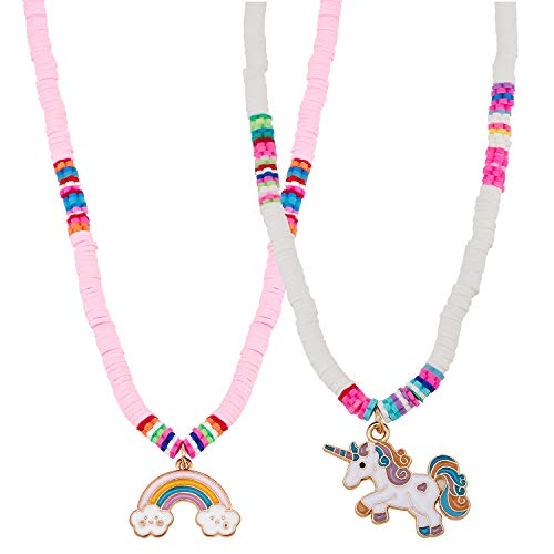 vamei Collares de Unicornio para niñas Unicorn Jewellry Heishi Cuentas de Disco de Vinilo Collares para Mujeres Niñas Regalos de Fiesta de cumpleaños 2pack