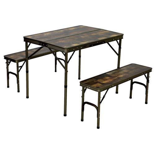 [クイックキャンプ] アウトドア 折りたたみテーブルセット 4人用 収納袋付き ヴィンテージライン QC-PT90Va