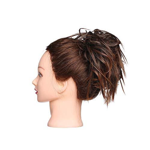 Chignon Capelli Extension Elastico Finti Posticci Ricci Messy Hair Bun Updo Ponytail Extensions Coda di Cavallo Ciambella 45g, Castano Ramato Chiaro m