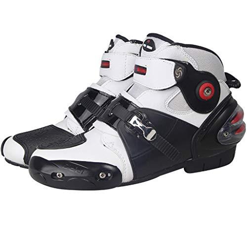 WERT Botas de Moto Botas Impermeables de Cuero Motocross de protección Botas de Carretera Crash Protective Zip Free Shoes,White-42