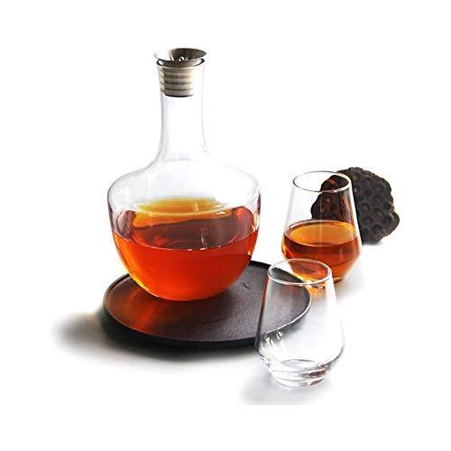 HLR Vasos de Whisky Jarra de Whisky Whisky Decanter Jarra con Tapón, Rojo Aireador De Vino 100% Soplado A Mano Sin Plomo Vidrio con El Vino Vertedor Caño, Vino Accesorios Regalo