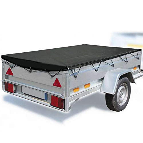 Werkapro 11342 Protection étanche extérieure-Bache Imperméable 11342-Bâche de remorque-200 x 120 x 7 cm-200g/m² -en polyéthylène-Noire, 200 m x 120 m x 7 cm