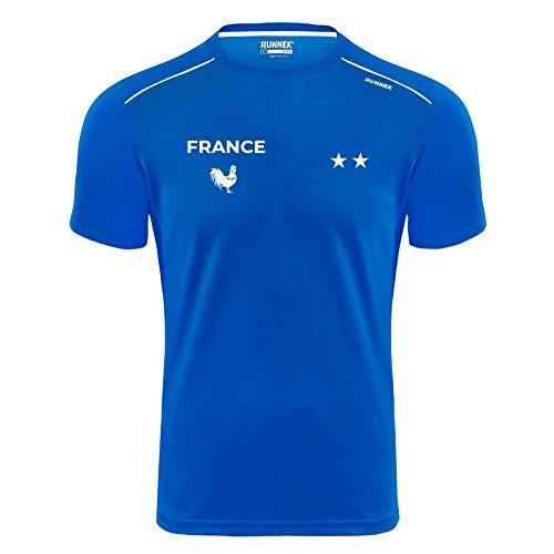 T-Shirt Technique - Maillot Running Fiers de Courir en Bleu - Équipe de France - Champions du Monde 2018-2 étoiles (XL)