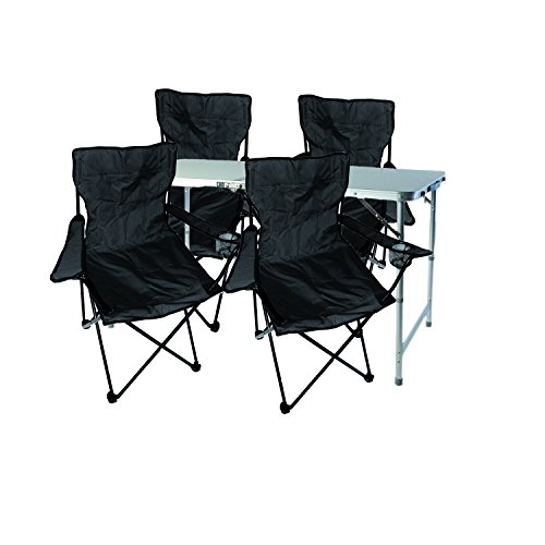 Mojawo Multistore 2002 - Juego de muebles de camping (aluminio, 120 x 60 x 58/70 cm, altura regulable, con asa y 4 sillas plegables), color negro